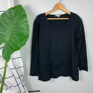 Lisa Todd Cotton Sweater Top Long Sleeves Black